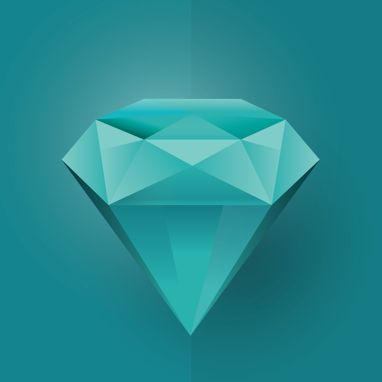 Poster A3 A4 Illustration of a blue diamond