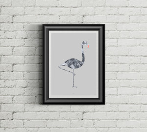 Poster A3 Illustration of a flamingo PolyArt
